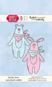 Wykrojnik Craft&You Design CW066 Teddy Bear and Plush Rabbit - Miś i Królik