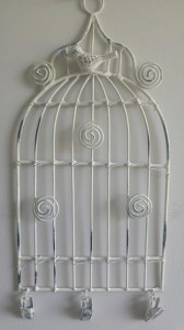 Small White Birdcage Memo Holder