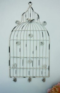 Medium White Birdcage Memo Holder