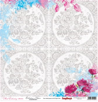 Zestaw papierów Floral Embroidery - Embroidery Patterns
